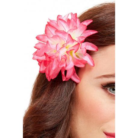 Flor Hawaiana Rosa para el Pelo con Pinza