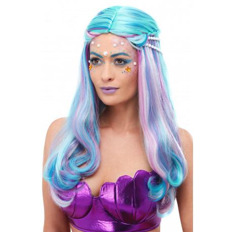 Peluca de Sirena Multicolor Larga con Perlas