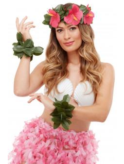 Kit Hawaiano Floral con Corona y Pulseras