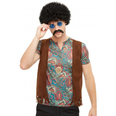 Kit de Hippie con Peluca, Bigote, Gafas y Colgante