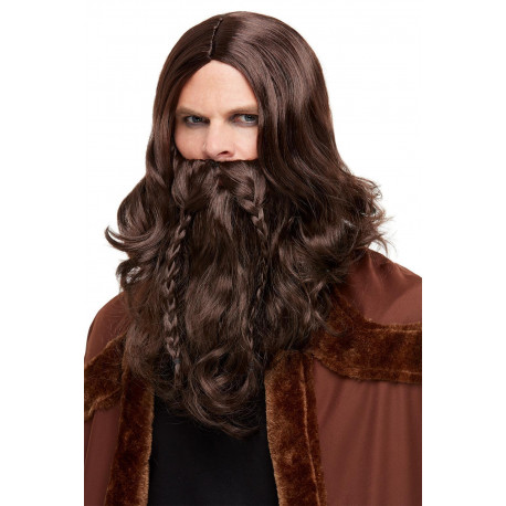 Peluca de Vikingo Castaña con Barba con Trenzas