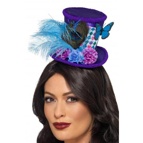 Mini Sombrero de Sombrerero Loco con Plumas