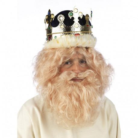 Peluca Rubia con Barba de Rey Mago Gaspar