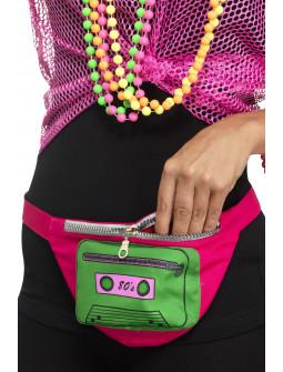 Riñonera Rosa Años 80 con Cassette Verde