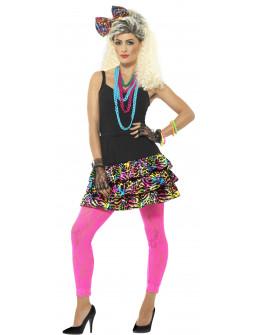 Kit Años 80 Multicolor con Falda, Lazo y Collares