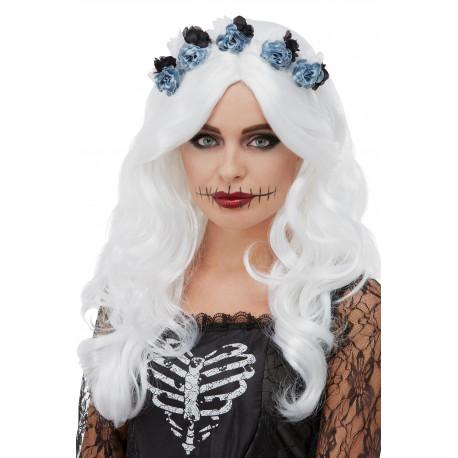 Peluca de Catrina Blanca con Flores Negras y Azules