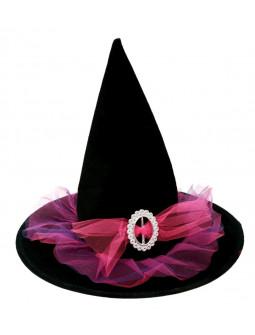 Sombrero de Bruja Negro y Rosa
