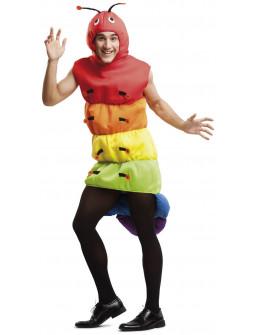 Disfraz de Gusano Multicolor para Adulto