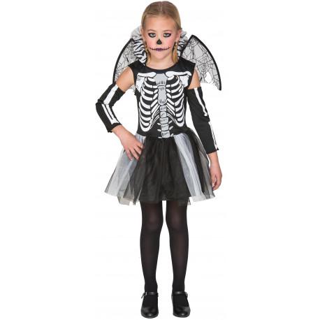 Disfraz de Esqueleto con Tutú y Alas para Niña
