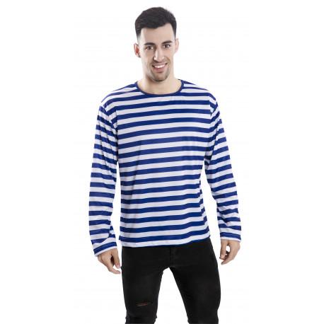 Camiseta de Rayas Azules y Blancas