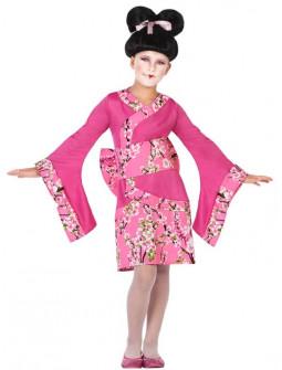 Disfraz de Geisha Japonesa Rosa para Niña