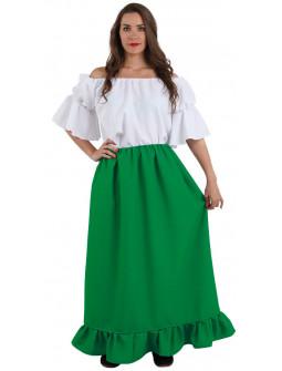 Falda Medieval Verde Claro Larga