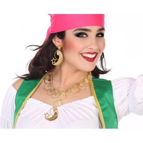 Collar y Pendientes Dorados de Adivina Gitana