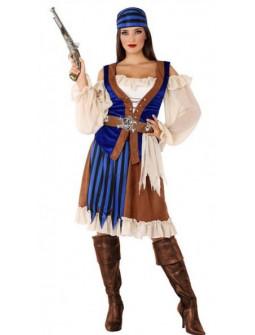 Disfraz de Pirata Azul Elegante para Mujer