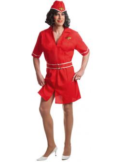 Disfraz de Azafata Rojo para Hombre
