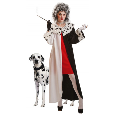 Disfraz de Cruella de Vil con Abrigo para Mujer
