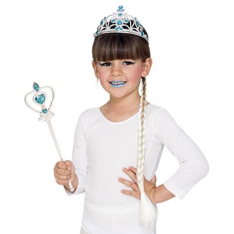Kit de Princesa Elsa con Cetro, Tiara y Trenza