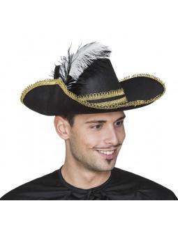 Sombrero de Mosquetero Negro con Pluma