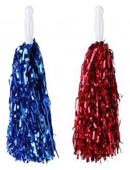 Pack de Pompones en Azul y Rojo Metalizado