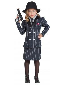 Disfraz de Mafiosa con Traje a Rayas para Niña