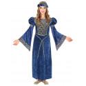 Disfraz de Noble de Corte Medieval Azul para Niña