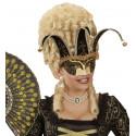 Máscara Veneciana Negra y Dorada con Cascabeles