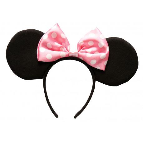Diadema de Minnie Mouse con Orejas y Lazo Rosa