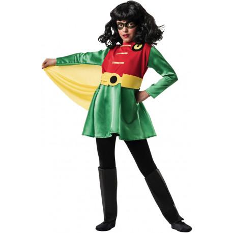 Disfraz de Superheroína Rojo y Verde para Niña