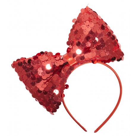Diadema con Lazo Rojo con Lentejuelas