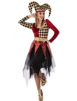 Disfraz de Arlequín Dorado y Rojo para Mujer