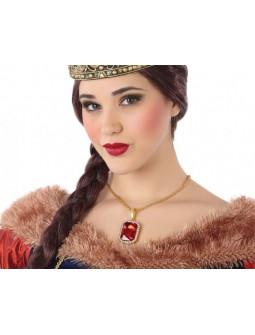 Collar de Reina Medieval con Piedra Roja