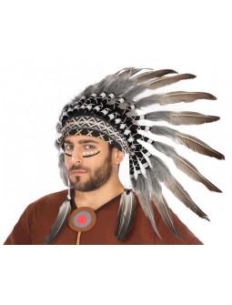 Penacho de Plumas de Jefe Indio Negro y Blanco