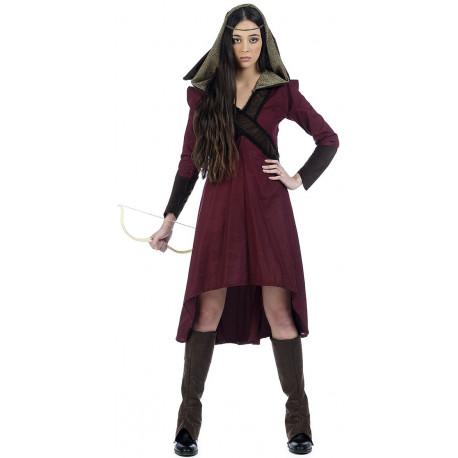 Disfraz de Arquera Medieval Granate para Mujer