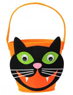 Cesta de Gato Negro de Halloween Infantil