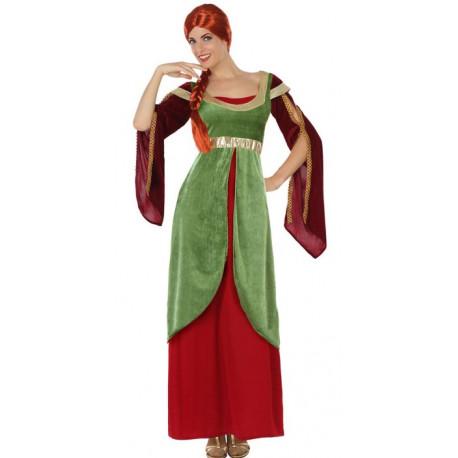 Disfraz de Dama Medieval Verde y Rojo para Mujer