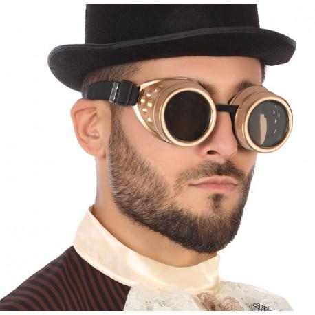 Gafas Steampunk Doradas con Cristales Oscuro