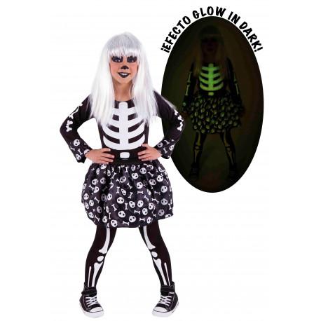 Disfraz de Esqueleto Fluorescente para Niña