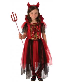 Disfraz de Diablesa con Lentejuelas para Niña