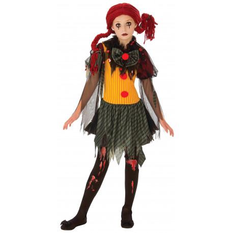 Disfraz de Payasa Zombi con Peluca para Niña