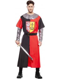 Disfraz de Cruzado Medieval Rojo y Negro para Hombre
