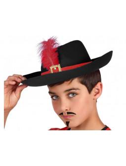 Sombrero de Mosquetero con Pluma Rojo para Niño