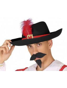 Sombrero de Mosquetero con Pluma Roja para Adulto
