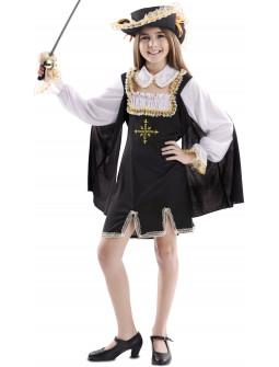 Disfraz de Mosquetera Negro para Niña