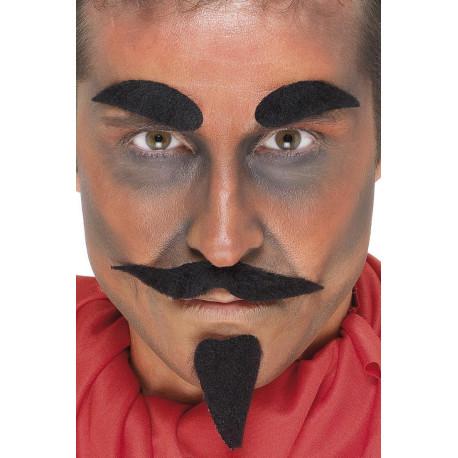 Bigote Negro con Perilla y Cejas