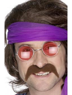 Bigote Castaño de Hippie Años 70 con Adhesivo