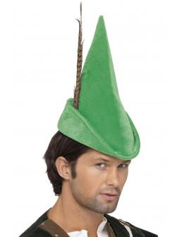 Sombrero de Robin Hood Verde con Pluma