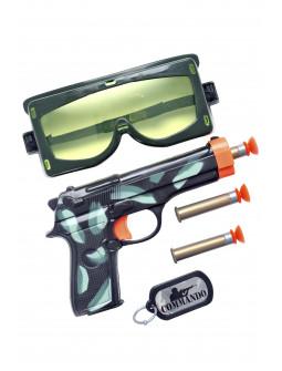 Kit de Comando Militar con Pistola, Gafas y Placa