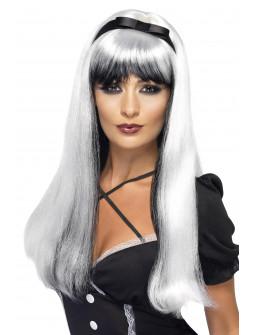 Peluca Bicolor Blanca y Negra Larga con Lazo