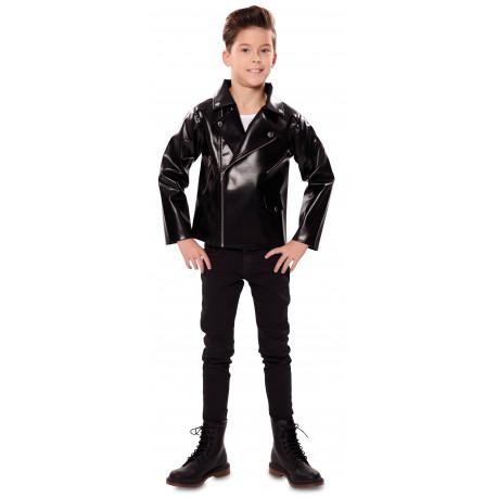 Chaqueta de Grease Infantil de Polipiel Negra