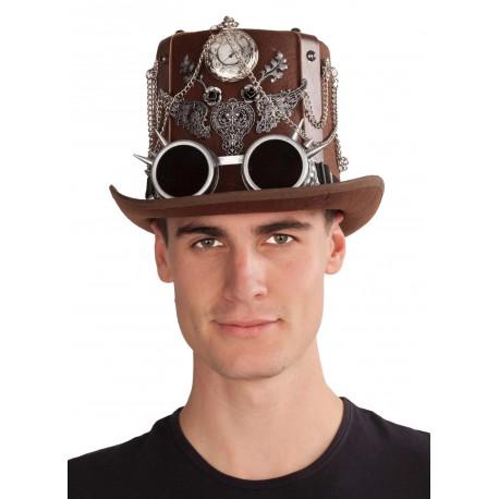 Chistera Steampunk Marrón con Gafas y Reloj